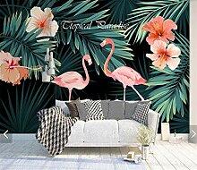 Tapeten 3D Tropische Blume Flamingo Tapete