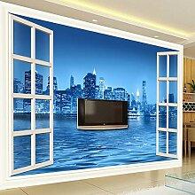Tapeten,Fenster Blau City Night Gebäude Serie
