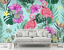Tapeten Flamingo Blume Tapete 3D Wandbilder Tapete