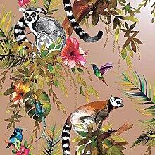 Tapeten Lemur-Tapete Rose Gold Tropical Dschungel