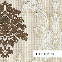 Tapeten MUSTER EDEM 052-Serie | Tapete Barock Damask Relief-Ornamente Flockoptik, 052-XX:S-052-23