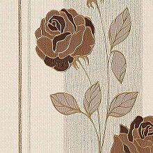 Tapeten MUSTER EDEM 766-Serie | Deluxe Präge Floral Blumen Rosen Streifen Tapete, 766-XX:S-766-36