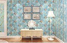 Tapeten und Schlafzimmer Tapete Sofas Tv Hintergrund Wand Retro 0,53 m * 10 m, edle blaue