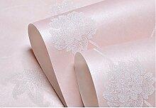 Tapeten Vlies Tapete im europäischen Stil in warmen Schlafzimmer Wänden Tapete 0,53 m * 10 m, Pale Pink