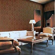Tapeten Wandbelag, europäischen Stil Klassische stereoskopische Muster PVC-Tapeten, Dunkelbraun