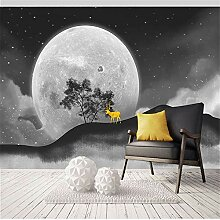 Tapeten Wandbild Wandaufkleber8D Starry Moon Sun