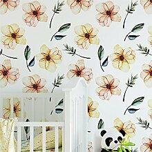 Tapeten, Wanddeko, Tapete (130 x 275 cm, Aquarell Blumen, Selbstklebende Tapete, Kinderzimmer Dekoration, Baby Tapete, Renovierung Ideen, Haus Dekoration)