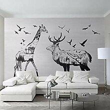 Tapeten Wandtattoos Wandbilder Schwarz-Weiß Elch