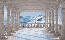 Tapeto Fototapete - Berge Schnee Ausblick - Vlies