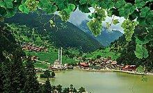 Tapeto Fototapete - Berge See Trauben Natur -