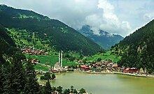 Tapeto Fototapete - Berglandschaft Dorf - Vlies