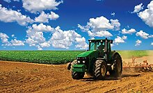 Tapeto Fototapete - Feld Himmel Traktor Natur -