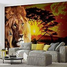 Tapeto Fototapete - Loewe Sonnenuntergang Afrika