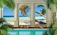 Tapeto Fototapete - Pool Ausblick Spalten Strand -