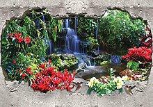 Tapeto Fototapete - Wasserfall Wald Blumen -
