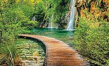 Tapeto Fototapete - Weg See Berge Wasserfall Wald