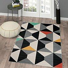 TAPISO® CANVAS Modern Teppich Kurzflor | Designer Jugendteppich mit Geometrisch Muster in Grau Schwarz Creme Bunt | Perfekt für Wohnzimmer, Jugendzimmer | ÖKOTEX 80 x 150 cm