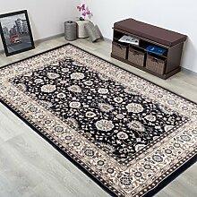 TAPISO® COLORADO Teppich Klassisch Kurzflor | Orientalisch Teppiche in Schwarz Creme Beige mit Floral Ziegler Ornament Muster | Orientteppich ideal für Wohnzimmer | ÖKOTEX 300 x 400 cm