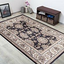 TAPISO® COLORADO Teppich Kurzflor Klassisch | Orientalisch Teppiche in Schwarz Creme mit Floral Ziegler Ornament Muster | Traditionell Orientteppich ideal für Wohnzimmer | ÖKOTEX 200 x 300 cm