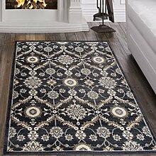 Tapiso Dubai Teppich Klassisch Gemustert Orientalisch Kurzflor in Schwarz mit Ornament Floral Muster Ideal Flachflor für Wohnzimmer, Gästezimmer Ökotex 160 x 220 cm
