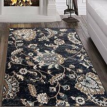 Tapiso Dubai Teppich Klassisch Gemustert Orientalisch Kurzflor in Schwarz mit Floral Natur Blumen Muster Ideal für Wohnzimmer, Gästezimmer Ökotex 160 x 220 cm