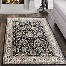 Tapiso Dubai Teppich Klassisch Gemustert Traditionell Orientalisch Kurzflor in Schwarz Creme mit Ornament Floral Muster mit Bordüre Ideal für Wohnzimmer Ökotex 200 x 300 cm