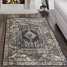 Tapiso Dubai Teppich Klassisch Kurzflor Orientalisch Flachflor in Schwarz mit Geometrisch Ornament Muster Ideal für Wohnzimmer Ökotex 140 x 200 cm