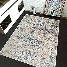 TAPISO H715G Montreal Viskose Designer Teppich mit Ornamente Muster, Klassisch Leinwand 3D Optik, Polypropylen, Beige, 190 x 140 x 1.2 cm