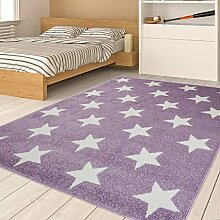 TAPISO HAPPY Jugend Teppich Kurzflor | Designer Kinderteppich in Pastell Lila Weiss mit Sternen Muster | Ideal Spielteppich für Mädchen Kinderzimmer | ÖKOTEX 300 x 400 cm