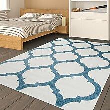 Tapiso HAPPY Jugend Teppich Kurzflor Kinderteppich Creme Blau Modern Geometrisch Marokkanisch Muster Perfekt für Jugendzimmer ÖKOTEX 120 x 170 cm