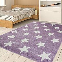 Tapiso HAPPY Jugend Teppich Kurzflor Modern Kinderteppich in Pastell Lila Weiss mit Stern Muster Spielteppich für Kinderzimmer ÖKOTEX 120 x 170 cm