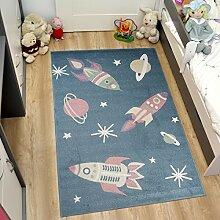 Tapiso HAPPY Kinder Teppich Kurzflor Designer Kinderteppich Blau Mehrfarbig mit Modern Raketen Muster Ideal für Kinderzimmer ÖKOTEX 120 x 170 cm