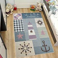 Tapiso HAPPY Kinder Teppich Kurzflor Designer Kinderteppich Blau Mehrfarbig mit Modern See Schiff Muster Ideal für Kinderzimmer ÖKOTEX 120 x 170 cm