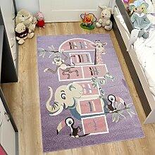 Tapiso HAPPY Kinder Teppich Kurzflor Designer Lila Mehrfarbig mit Modern Tiere Muster Ideal Spielteppich für Kinderzimmer ÖKOTEX 80 x 150 cm