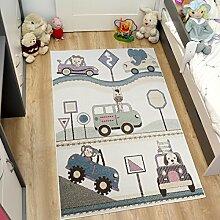 Tapiso Happy Kinder Teppich Kurzflor Modern Kinderteppich Creme Mehrfarbig mit Fahrzeug Muster Spielteppich Kinderzimmer Ökotex 140 x 190 cm