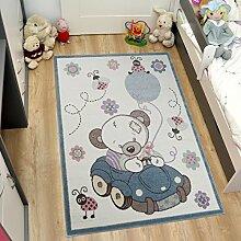 Tapiso HAPPY Kinder Teppich Kurzflor Modern Kinderteppich in Creme Mehrfarbig mit Bär Muster Spielteppich für Kinderzimmer ÖKOTEX 80 x 150 cm
