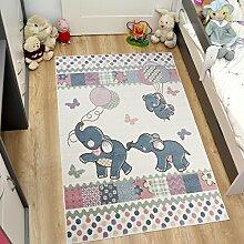 Tapiso HAPPY Kinder Teppich Kurzflor Modern Kinderteppich in Creme Mehrfarbig mit Elefanten Muster Spielteppich für Kinderzimmer ÖKOTEX 120 x 170 cm