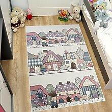 Tapiso HAPPY Kinder Teppich Kurzflor Modern Kinderteppich Pastell Creme Mehrfarbig Stadt Muster Spielteppich für Kinderzimmer ÖKOTEX 120 x 170 cm