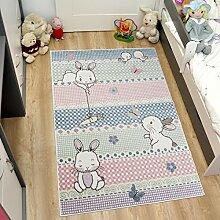Tapiso HAPPY Teppich Kurzflor Designer Kinderteppich in Rosa Pink Mehrfarbig mit Hasen Muster Spielteppich für Kinderzimmer ÖKOTEX 140 x 190 cm