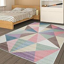 Tapiso HAPPY Teppich Kurzflor Kinderteppich Mehrfarbig mit Modern Geometrisch Dreieck Muster für Kinderzimmer Jugendzimmer ÖKOTEX 80 x 150 cm