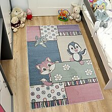 Tapiso HAPPY Teppich Kurzflor Modern Kinderteppich in Pastell Farben Mehrfarbig mit Tiere Karo Muster Ideal für Kinderzimmer ÖKOTEX 80 x 150 cm