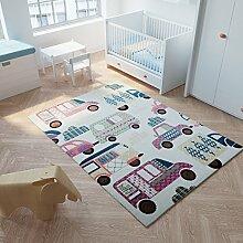 Tapiso Happy Teppich Kurzflor Modern Kinderteppich Pastell Creme Mehrfarbig Auto Muster Perfekt Spielteppich für Kinderzimmer Ökotex 80 x 150 cm