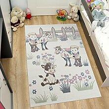 Tapiso HAPPY Teppich Kurzflor Modern Kinderteppich Pastell Creme Mehrfarbig mit Bauernhof Muster Spielteppich für Kinderzimmer ÖKOTEX 140 x 190 cm