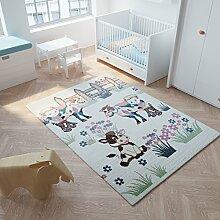 Tapiso Happy Teppich Kurzflor Modern Kinderteppich Pastell Creme Mehrfarbig mit Bauernhof Muster Spielteppich für Kinderzimmer Ökotex 200 x 290 cm