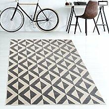 Tapiso MAROKO Teppich Modern Kurzflor Geometrisch Marokkanisch Karo Diamant Muster in Grau Creme für Wohnzimmer Schlafzimmer ÖKOTEX 120 x 170 cm