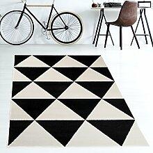 Tapiso MAROKO Teppich Modern Kurzflor Geometrisch Marokkanisch Dreieck Muster in Schwarz Creme für Wohnzimmer Schlafzimmer ÖKOTEX 120 x 170 cm