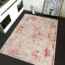TAPISO Montreal Viskose Designer Teppich mit Ornamente Muster Teppich Klassisch Leinwand 3D Optik | Farbe Beige| Sehr Dick und Weich | Vintage 160 x 220 cm