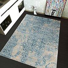 TAPISO Montreal Viskose Designer Teppich mit Ornamente Muster Teppich Klassisch Leinwand 3D Optik | Farbe Blau | Sehr Dick und Weich | Vintage 140 x 190 cm