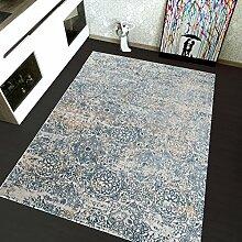 TAPISO Montreal Viskose Designer Teppich mit Ornamente Muster Teppich Klassisch Leinwand 3D Optik - Farbe Blau - Sehr Dick und Weich 120 x 170 cm
