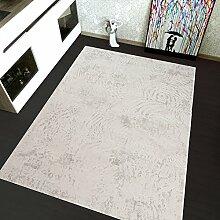 TAPISO Montreal Viskose Designer Teppich mit Ornamente Muster Teppich Klassisch Leinwand 3D Optik | Farbe Creme| Sehr Dick und Weich | Vintage 140 x 190 cm